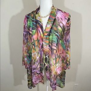Slinky Brand sz med coverup abstract print